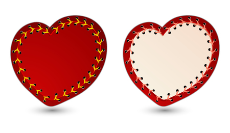 Vector illustration of two laced hearts  Vector