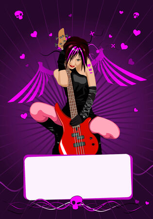 Vector girl with guitar and copy-space for your text Vector