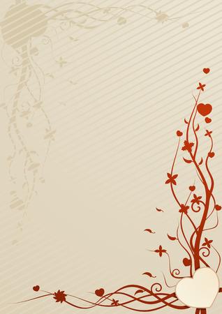 esquineros de flores: Ilustraci�n vectorial de color beige con el coraz�n y papel tapiz con motivos florales Vectores