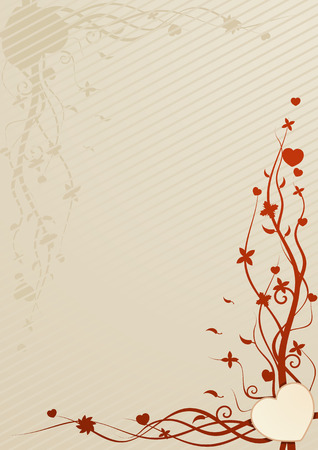 Vector illustration of beige wallpaper with heart and floral patterns