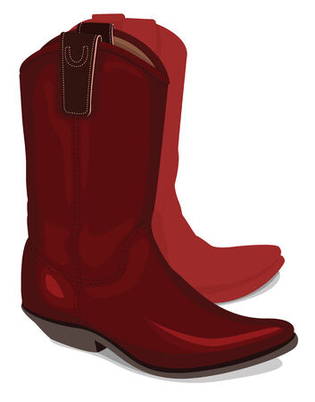 red boots: Vector illustration of cowboy boots, isolated on white background