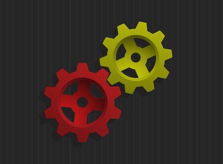 Vector illustration of colored gears over gray background  Vector
