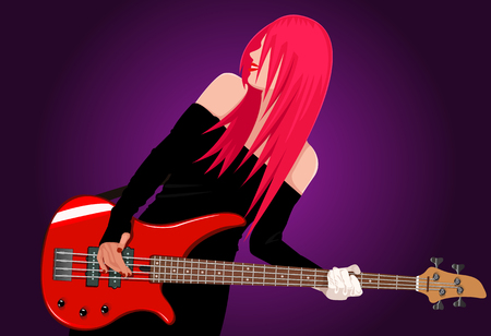 Vector illustration of smiling rock girl with red bass guitar Vector