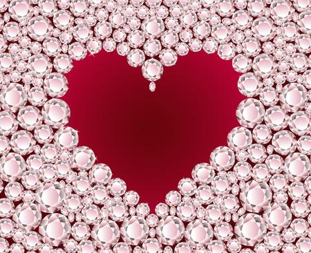 Vector red heart on shiny diamond background Stock Vector - 4928557