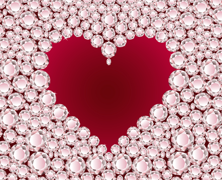 jewelry vector: Vector red heart on shiny diamond background