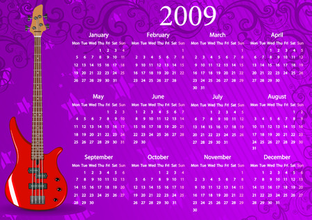 mondays: Vector European calendar with guitar, starting from Mondays Illustration