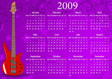 mondays: Vector European calendar with guitar, starting from Mondays Illustration