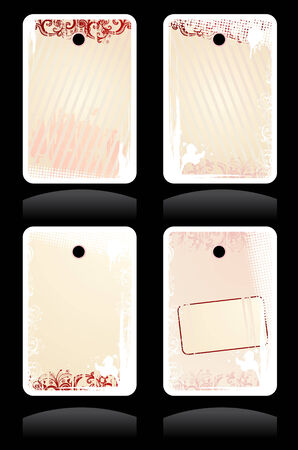 Set of vector pink grunge labels with copy-space Vector