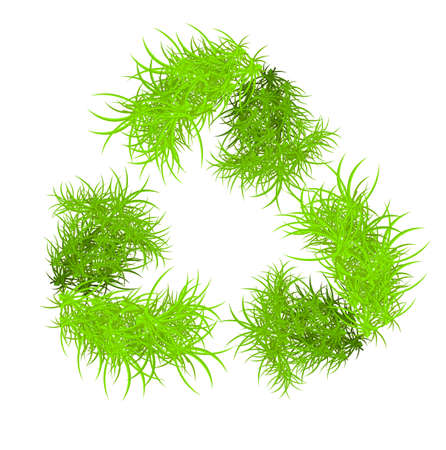 Vector illustration of recycle symbol formed from grass  Vector