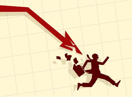 downturn: Vector illustration of businessman running from shark-shaped arrow