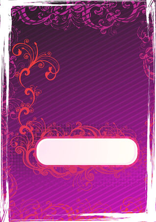 Vector illustration of grunge purple wallpaper with floral copy-space