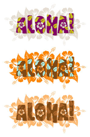 Vector illustration of aloha word, hand drawn text