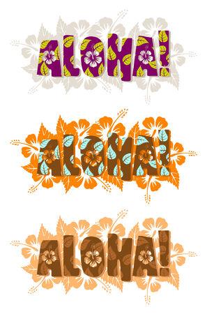 Vector illustration of aloha word, hand drawn text