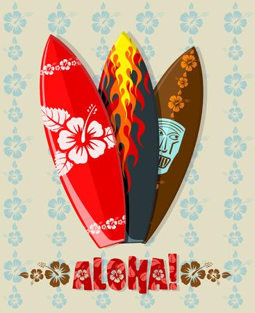 hula: Ilustraci�n vectorial de tablas de surf aloha