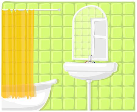 shower curtain: Vector illustration of green modern bathroom
