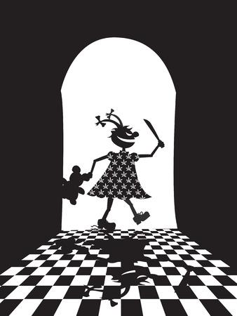 Vector illustration of evil girl with knife and teddy bear  Vector