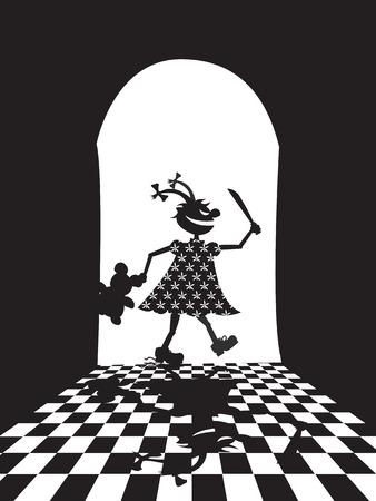 murderer: Vector illustration of evil girl with knife and teddy bear
