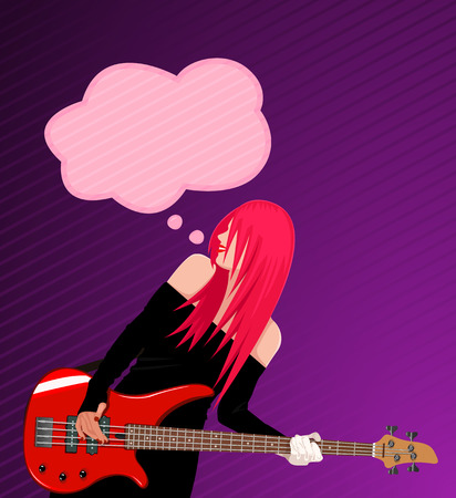 accords: Vector illustration of smiling rock girl with speech bubble