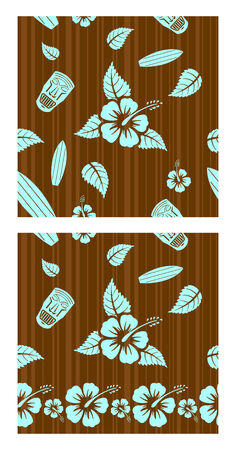 Vector aloha seamless patterns for combining � second pattern for bottom