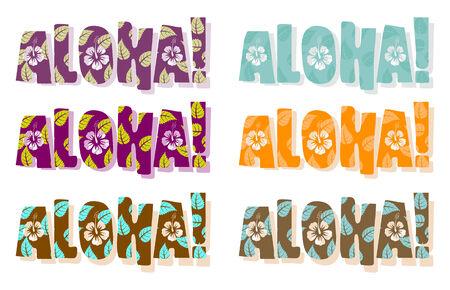 폴리네시아: Vector illustration of aloha word in different colors, hand drawn text
