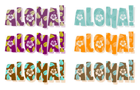 Vector illustration of aloha word in different colors, hand drawn text  Vector