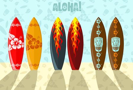 Illustrazione vettoriale di Aloha tavole da surf sulla spiaggia