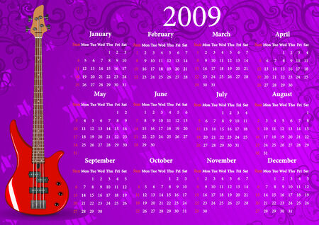 red ribbon week: Vector American calendar with guitar, starting from Sundays