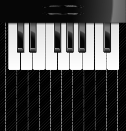 Vector illustration of realistic piano keys over textile background for your text