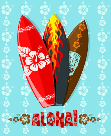 Vector illustration of modern aloha surf boards