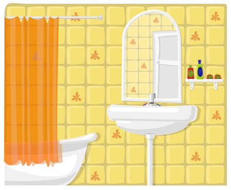 Vector illustration of green modern bathroom