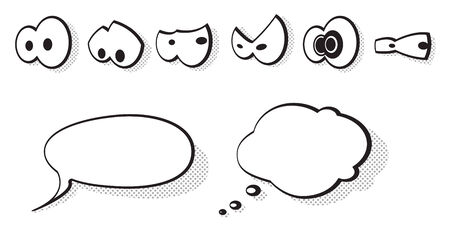 Set of vector cartoon eyes and speech bubbles