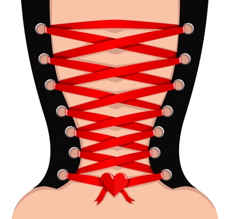 Vector rear view of sexy girl in corset with red lace  Иллюстрация