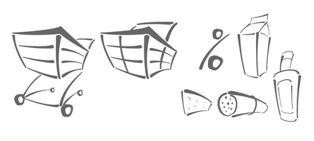 shopping chart: Vector icons for shopping � shopping chart, percent, food
