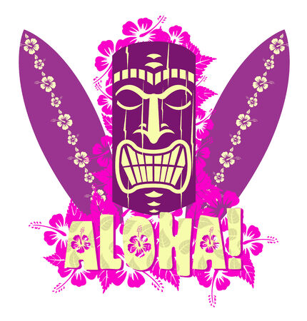 Vector illustration of tiki mask with surf boards, and hand drawn text Aloha  Иллюстрация