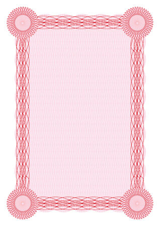 Vector guilloche red border for diploma or certificate template  Vector