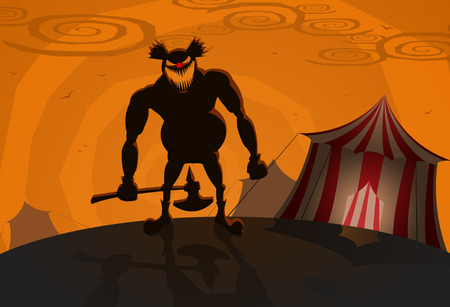 circus vector: Vector evil clown with circus on background, Halloween theme  Illustration