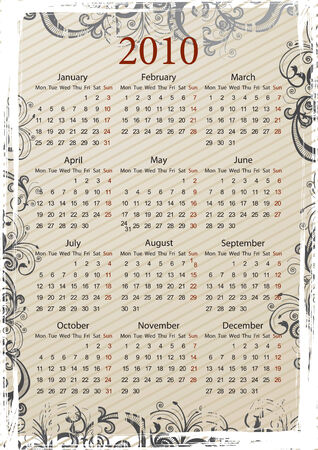 mondays: European Vector beige floral grungy calendar, starting from Mondays