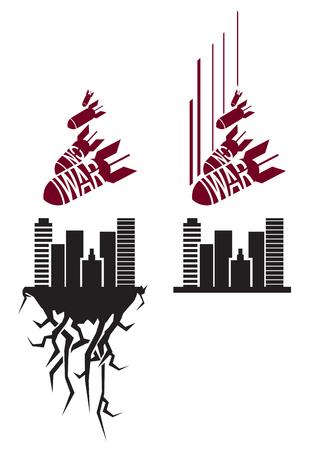Vector rojo y negro no stencil guerra en estilo de propaganda