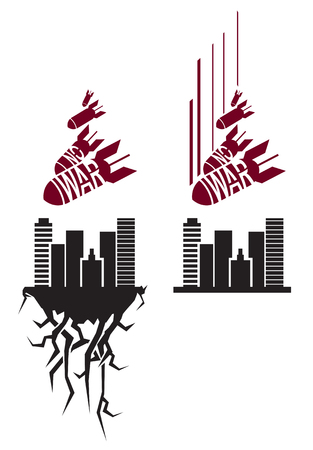 no war: Vector red and black no war stencil in propaganda style