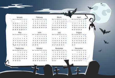 mondays: Vector European Halloween calendar with cemetery, full moon and bats (starting from Mondays)
