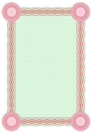a4 borders: Vector arabescato frontiera verde e rosso per il diploma o modello di certificato