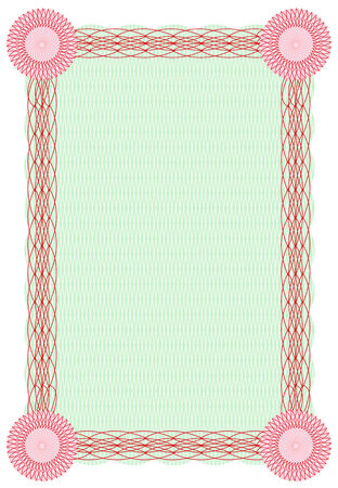 credential: Vector guilloche green and red border for diploma or certificate template