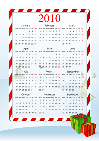 Vector illustration of European calendar 2010 with gift boxes, starting from Mondays Vector