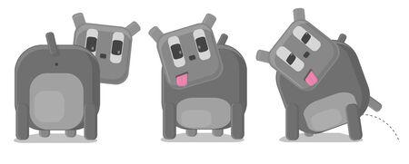 piss: Vector illustration of funny cani grigi in situazioni diverse Vettoriali