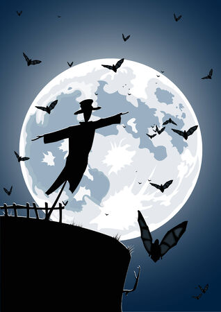 Vector illustration of scarecrow with full moon and bats on background  Vector