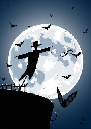 scarecrow: Vector ilustraci�n de espantap�jaros con luna llena y los murci�lagos en el fondo