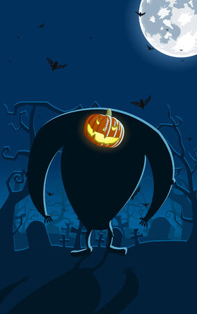 Vector illustration of scary Jack-o-lantern man on the grave, full moon and bats on background