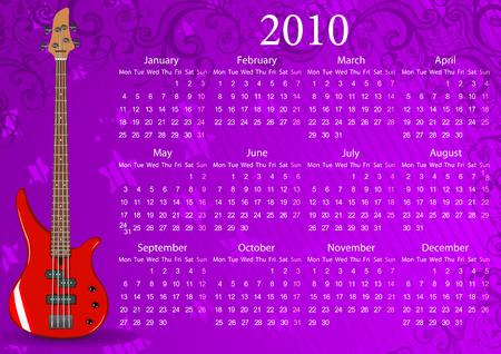 mondays: Vector European calendar with bass guitar, starting from Mondays