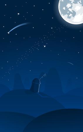 Vector illustration der Sternwarte, Vollmond und Sternschnuppen auf den Hintergrund Vektorgrafik