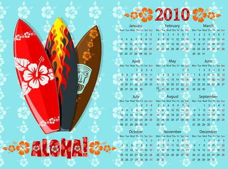 European blue Aloha calendar with surf boards, starting from Mondays Vector